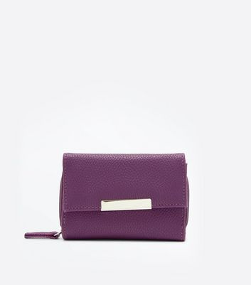 Purple Fold Over Front Zip Around Purse