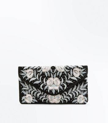 Black Floral Embroidered Beaded Clutch Bag