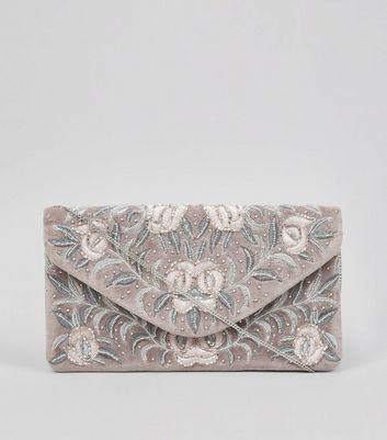 Lilac Floral Embroidered Beaded Clutch