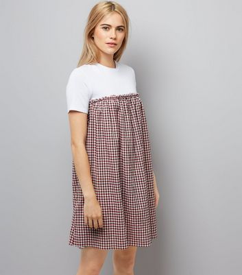 Red Gingham Check 2 in 1 Dress