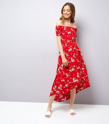 Parisian Red Floral Print Shirred Bardot Maxi Dress