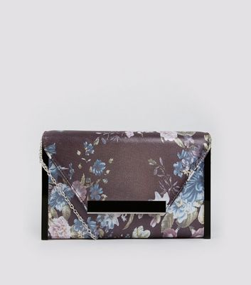 Grey Floral Print Envelope Box Clutch Bag