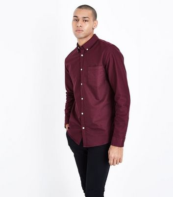 Burgundy Long Sleeve Oxford Shirt