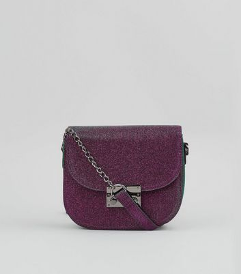 Purple Glitter Cross Body Bag