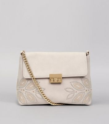 Shell Pink Stud Embellished Cross Body Bag