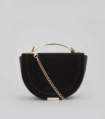 Black Curved Metal Handle Cross Body Bag
