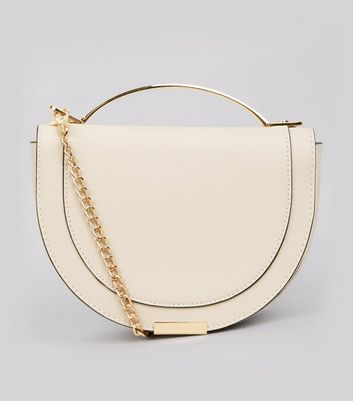 Shell Pink Curve Metal Trim Shoulder Bag