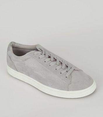 Grey Suedette Lace Up Trainers