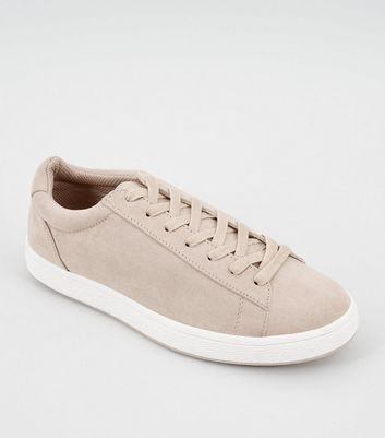 Cream Suedette Lace Up Trainers