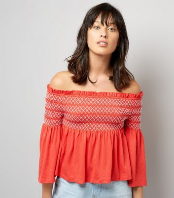 Red Contrast Shirred Panel Bardot Neck Top