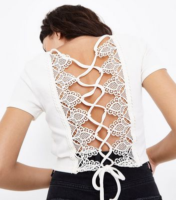 Cream Lace Up Back Ribbed T-Shirt
