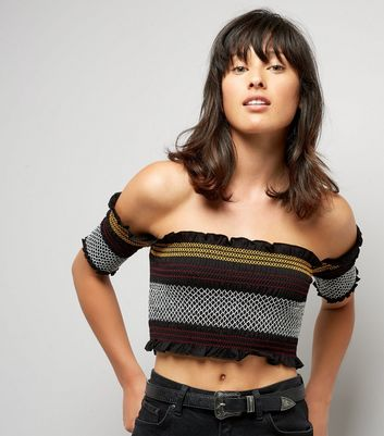 Black Stripe Shirred Bardot Neck Crop Top