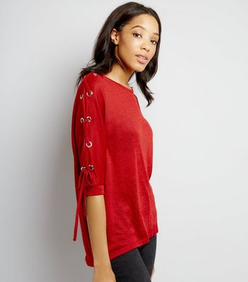 Red Lace Up Eyelet Batwing Sleeve Top
