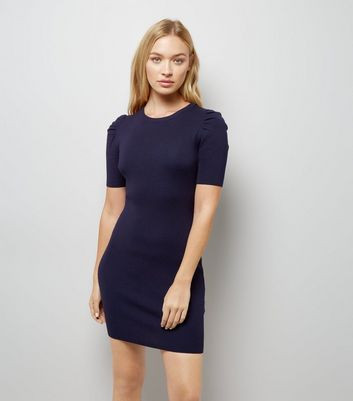 Navy Puff Sleeve Bodycon Dress