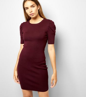 Burgundy Puff Sleeve Bodycon Dress