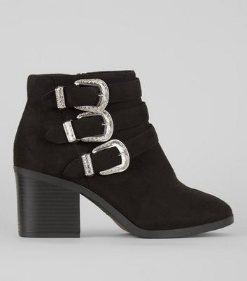 Wide Fit Black Buckle Side Ankle Boots