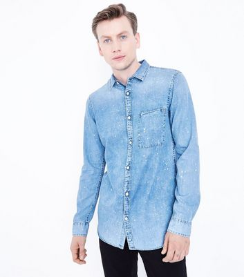 Pale Blue Bleach Splatter Denim Shirt
