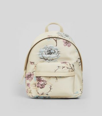 Cream Floral Jacquard Backpack