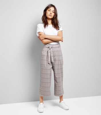 Brown Check Tie Waist Crop Trousers