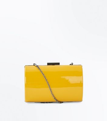 Yellow Patent Curved Box Clutch Bag
