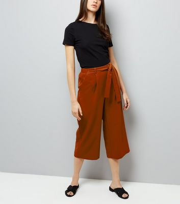 Brown Crepe Tie Waist Cropped Trousers