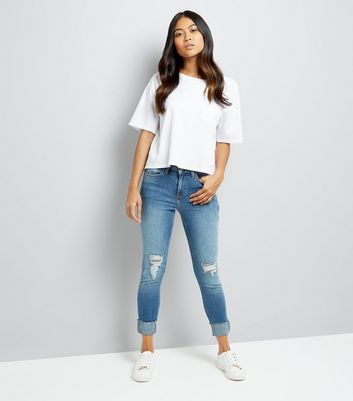 Petite Blue Ripped Turn Up Relaxed Skinny Jeans