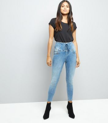 Petite Blue Eyelet Lace Up High Waist Skinny Jeans