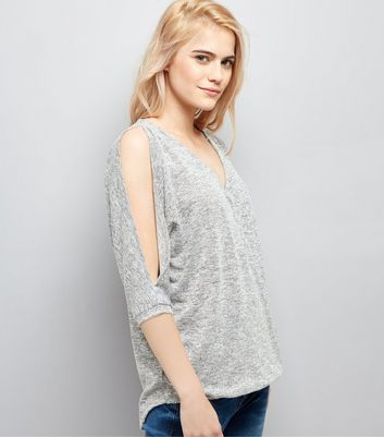 Grey V Neck Cold Shoulder Top