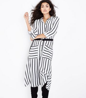 White Stripe Midi Shirt Dress