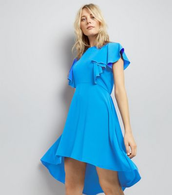 Blue Dip Hem Frill Trim Dress