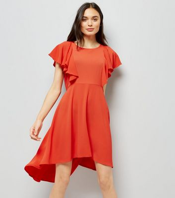 Red Dip Hem Frill Trim Dress