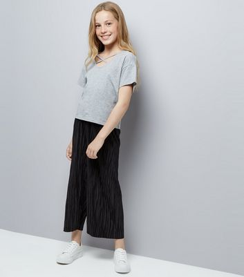 Teens Black Pleated Trousers