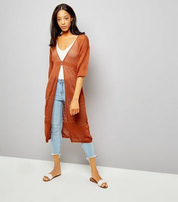 Light Brown Pointelle Button Front Longline Cardigan