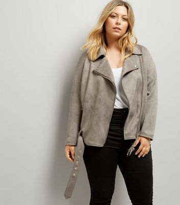 Curves Grey Suedette Biker Jacket