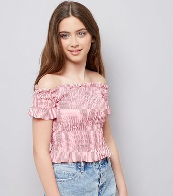 Teens Red Stripe Shirred Bardot Neck Top