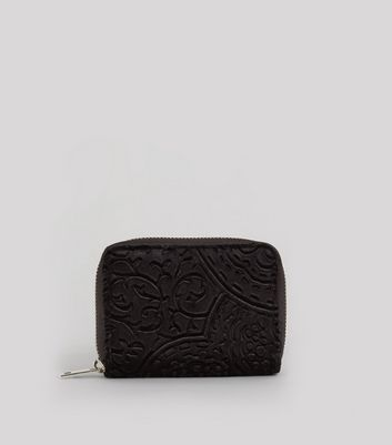 Black Baroque Embossed Velvet Zip Around Purse
