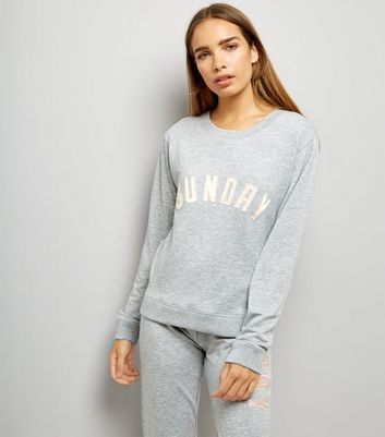 Tall Grey Sunday Embroidered Front Pyjama Sweater