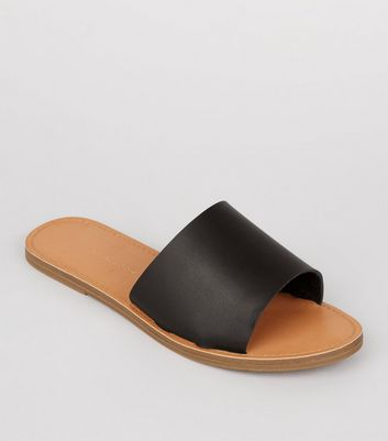 Wide Fit Black Mules