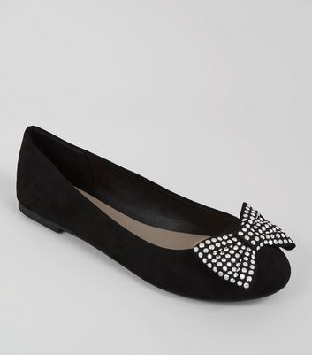 Wide Fit Studded Bow Ballet Pumps