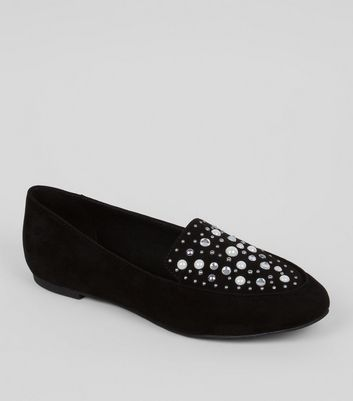 Wide Fit Black Suedette Embellished Loafers