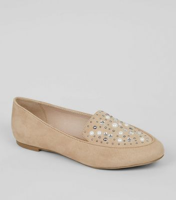 Wide Fit Nude Suedette Embellished Loafers