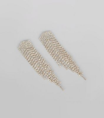 Gold Diamante Embellished Tassel Earrings