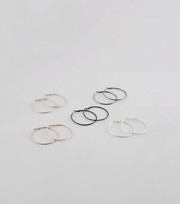 5 Pack Gold Mixed Hoop Earrings