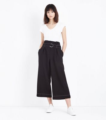 Black D Ring Belt Contrast Stitch Cropped Trousers