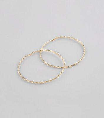 Gold Oversized Twisted Hoop Earrings