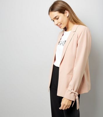Shell Pink Tie Sleeve Jacket
