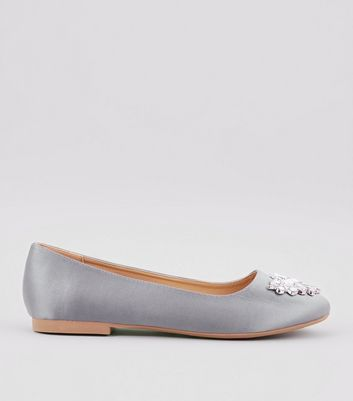 Wide Fit Grey Satin Embellished Ballet Pumps