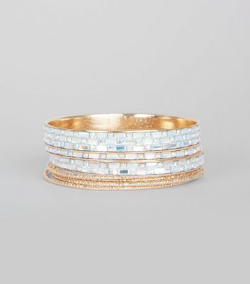 Silver Gem Detail Bangle Pack