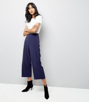 Navy Crepe Crop Wide Leg Trousers