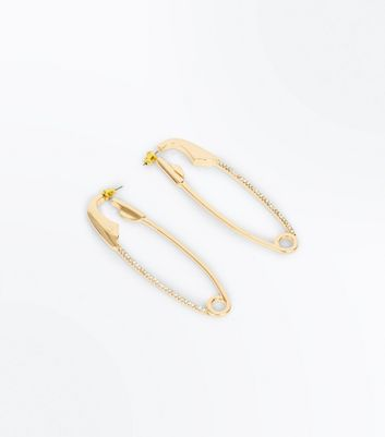 Gold Diamanté Embellished Safety Pin Earrings